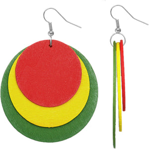 Red Green Layered Wooden Dangle Earrings