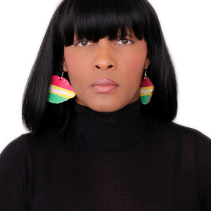 Red Yellow Wooden Kiss Me Earrings