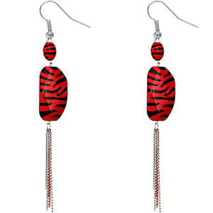 Red Zebra Stripe Drop Chain Earrings
