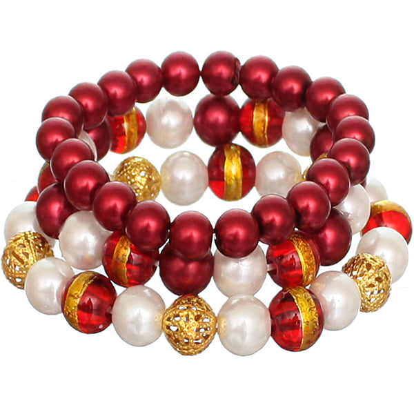 Red Faux Pearl Beaded Stretch Bracelets