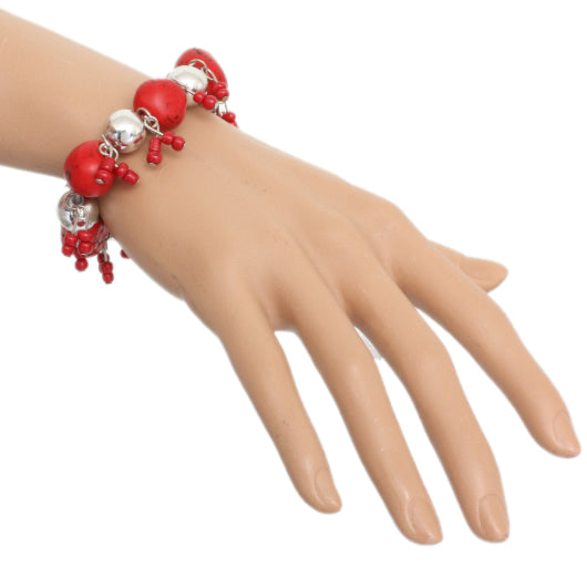 Red Beaded Faux Stone Stretch Bracelet
