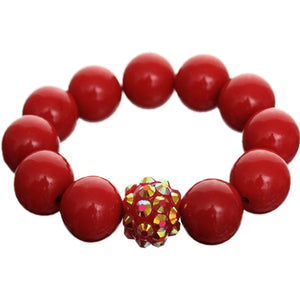 Red Large Fireball Beaded Stretch Bracelet