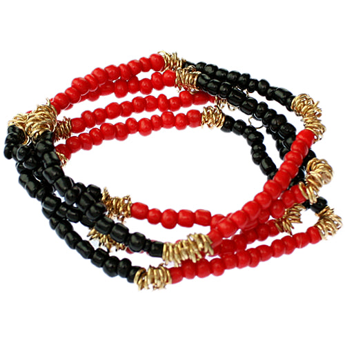 Red Black Beaded Stretch Bracelet