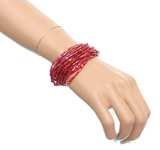 Red Iridescent Beaded Stretch Stacked  Bracelets