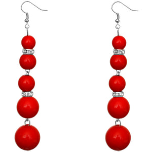 Red Gradual Beaded Dangle Earrings