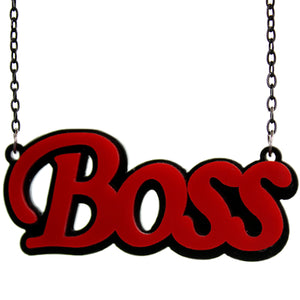 Red Comic Laser Cutout Boss Chain Necklace