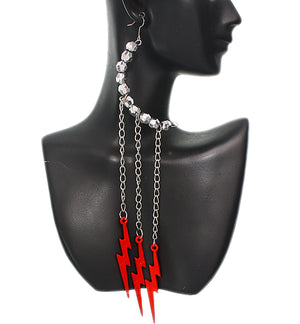 Red Beaded Drop Chain Lightning Bolt Dangle Earrings