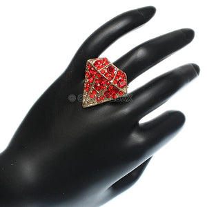 Red Diamond Shaped Rhinestone Adjustable Ring