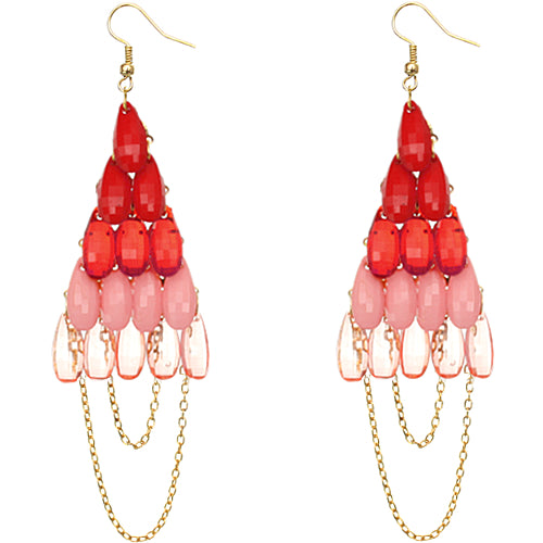 Red Faceted Drop Chain Chandelier Earrings