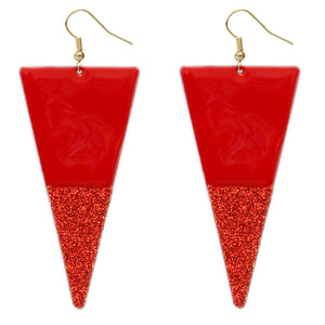 Red Glitter Inverted Triangle Earrings