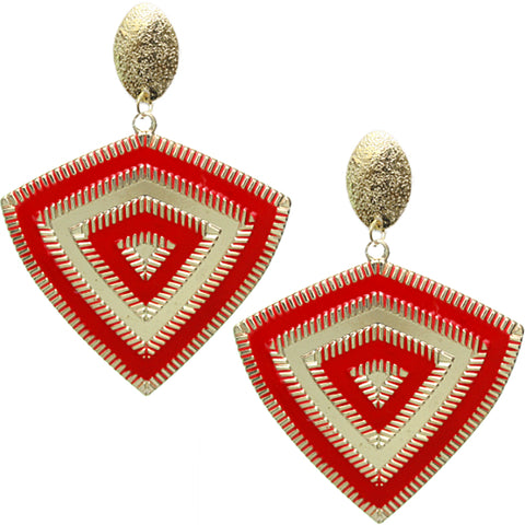 Red Inverted Triangle Frost Earrings