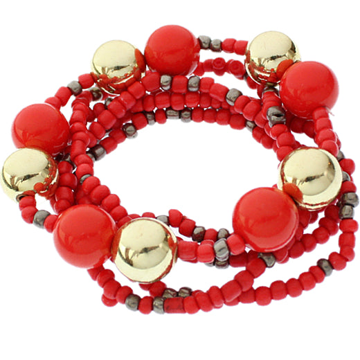 Red Multi Line Beaded Stretch Bracelet Set