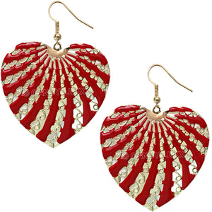 Red Filigree Dangle Heart Earrings