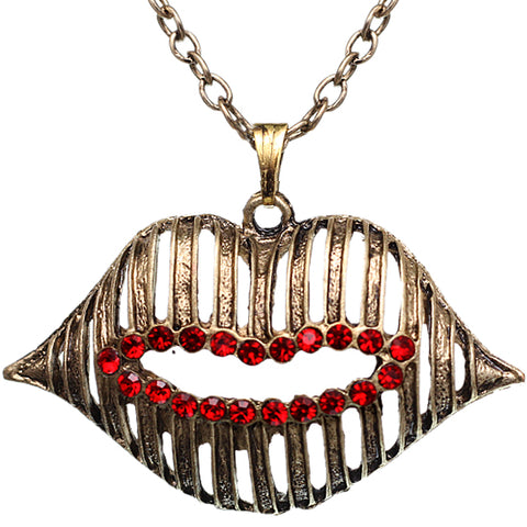 Red Gold Charm Lips Chain Necklace