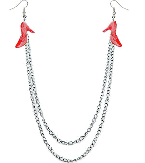 Red Double Chain High Heel Necklace Earrings