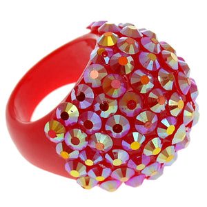 Red Studded Iridescent Rhinestone Dome Ring