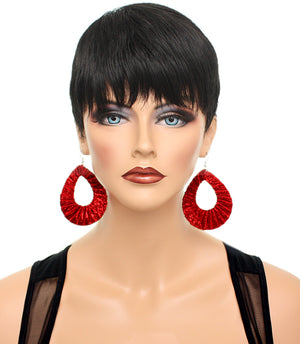 Red Glitter Fabric Teardrop Earrings