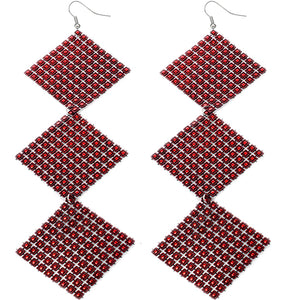 Red Long Triple Studded Mesh Dangle Earrings