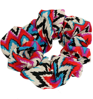Red Multicolor Satin Hair Scrunchie