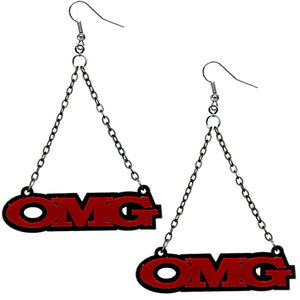 Red OMG Triangle Drop Chain Earrings