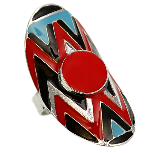 Red Multicolor Oval Zigzag Chevron Adjustable Ring