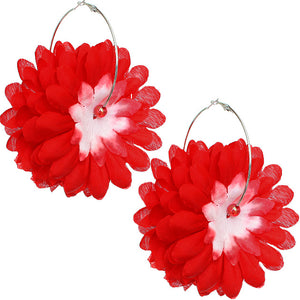 Red Oversized Large Beaded Flower Hoop Earrings