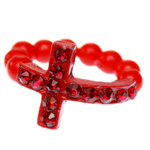 Red Adjustable Rhinestone Mini Cross Ring