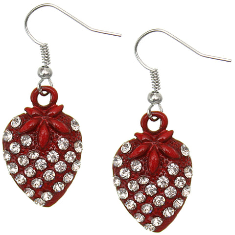 Red Strawberry Mini Rhinestone Earrings