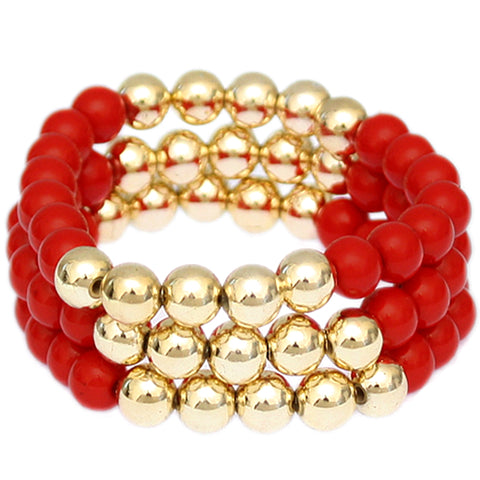 Red Beaded Round Ball Stretch Bracelets