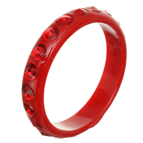 Red Glossy Studded Gemstone Bangle Bracelet