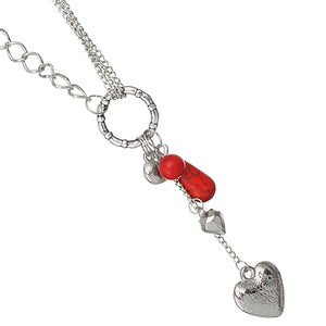 Red Beaded Heart Chain Necklace Set