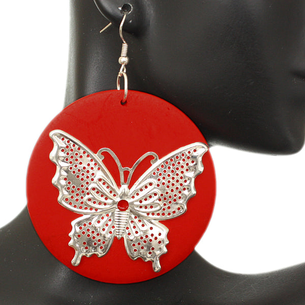 Red Silver Wooden Butterfly Dangle Earrings