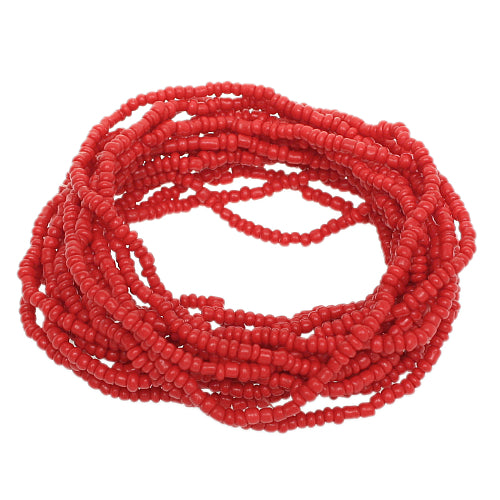 Red Beaded Stretch Stacked Bracelets