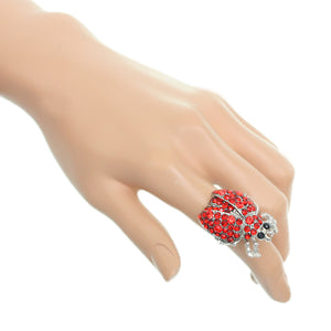 Red Studded Rhinestone Ladybug Adjustable Ring