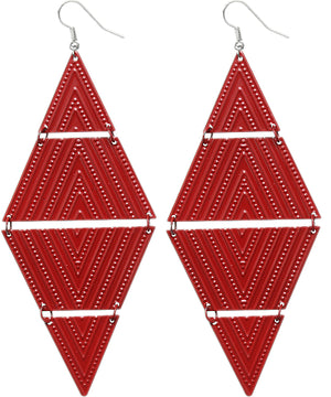 Red Inverted Triangle Link Earrings