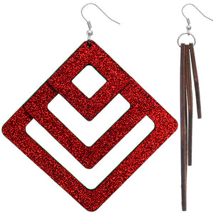 Red Triple Wooden Glitter Earrings