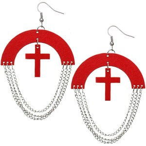 Red Wooden Chain Link Cross Earrings