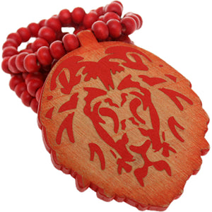 Red Wooden Lion Head Beaded Necklace