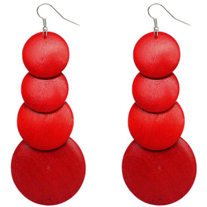 Red Wooden Round Disc Cascade Earrings