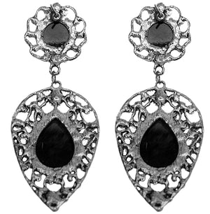 Black Teardrop Gemstone Link Post Earrings