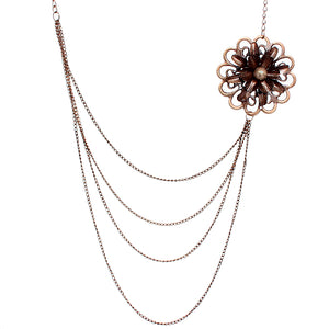 Rose Gold Floral Layered Chain Necklace Set