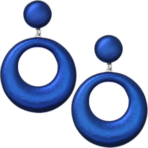 Royal Blue Soft Open Hoop Post Earrings