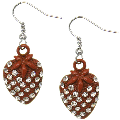 Orange Strawberry Mini Rhinestone Earrings