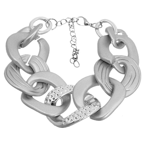 Silver Acrylic Connected Chain Link Bracelet