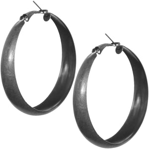 Antique Silver Metal Hoop Earrings