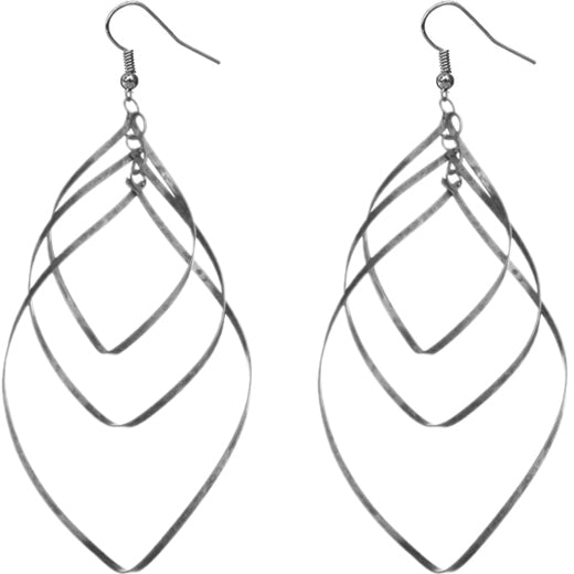 Silver Triple Teardrop Earrings