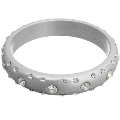 Silver Beaded Gemstone Bangle Bracelet
