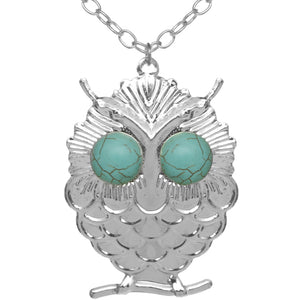 Silver Beaded Eyes Owl Pendant Necklace