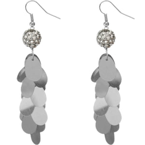 Silver Beaded Fireball Confetti Cascade Earrings