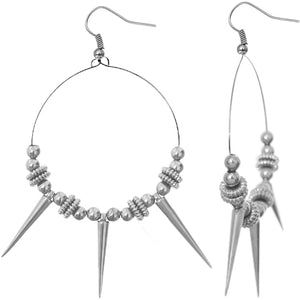 Silver Beaded Spike Hoop Earrings